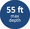 55ft max depth