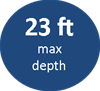 23ft maximum depth