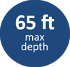65ft max depth
