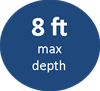 8ft maximum depth
